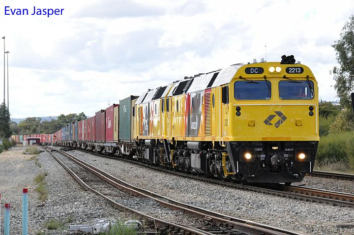 DC2213 and DC2205 on 1144 ILS container train seen here departing Forrestfield for Fremantle on the 11th May 2014
