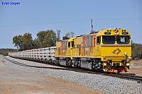 ACN4147 and ACN4144 on 7763 loaded iron ore train at Mullewa yard on the 1st December 2012