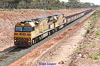 AC4301 and AC4307 on 7415 loaded iron ore train seen here departing Binduli for Esperance on the 14th May 2016