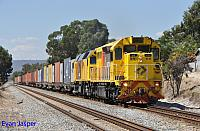 LZ3103 and DC2213 on 3144 ILS container service from Forrestfield to Fremantle seen here at Thornlie on the 10th March 2015