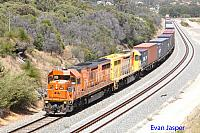 LZ3109 and LZ3106 on 7144 ILS container train seen here passing though Spearwood for Fremantle on the 20th December 2014