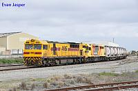 Q4006 and LZ3106 on 6197 loaded cement and lime train seen here heading though Forrestfield south on the 4th August 2017
