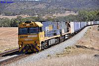 NR116 and NR118 on 1PM7 freighter at Toodyay on the 24th March 2013